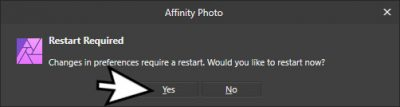 We need to restart Affinity Photo so these new added plugins can be loaded.
